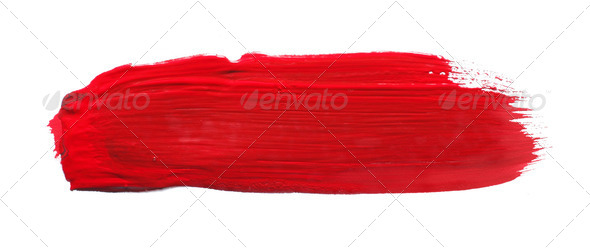 red watercolor brush - Stock Photo - Images