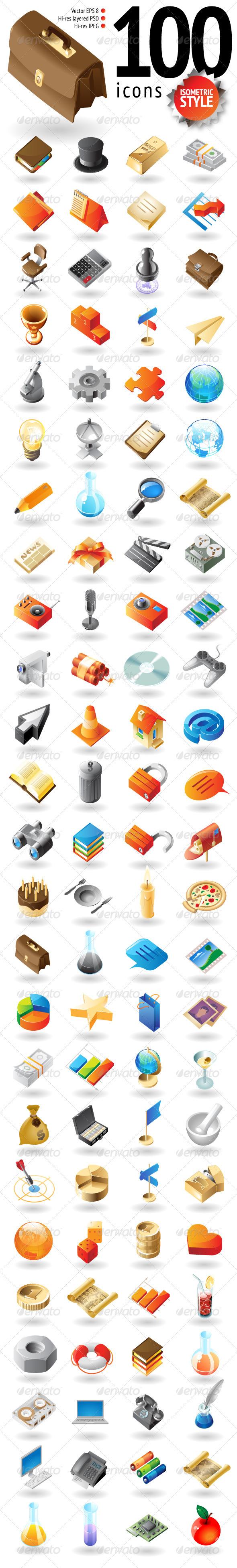 100 Isometric-Style Icons - Web Icons