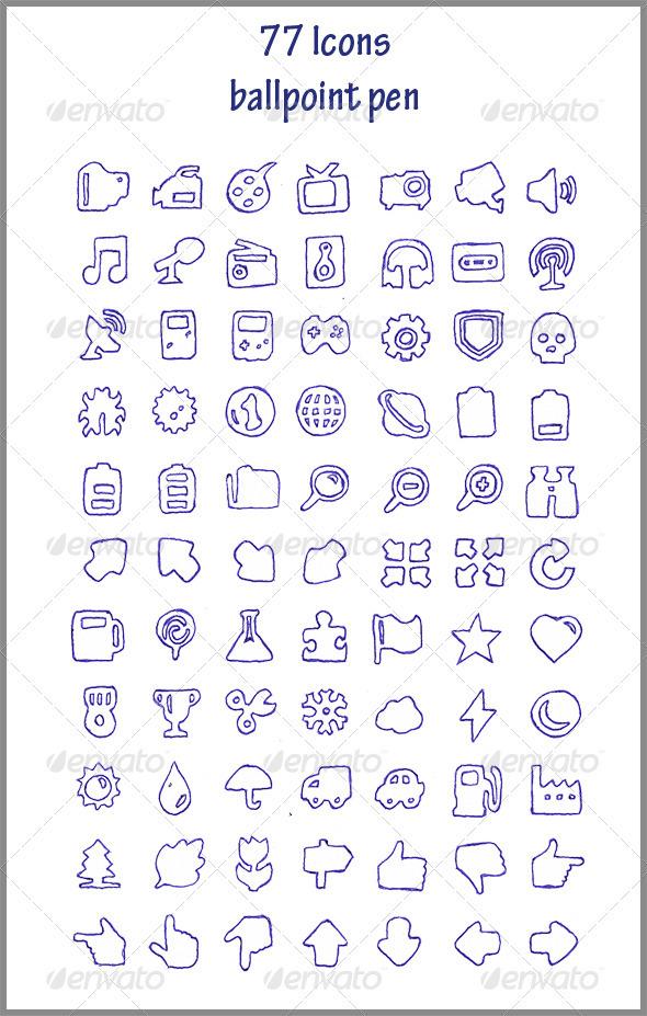 77 Icons (ballpoint pen) - Web Icons