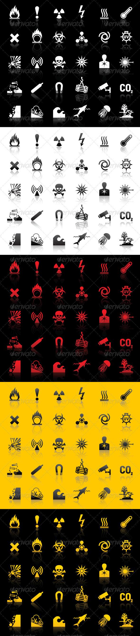 Symbols - Hazard warnings - Man-made objects Objects