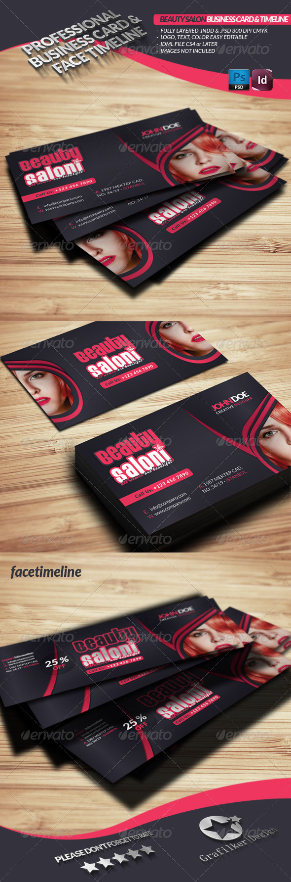 Beauty Salon Business Card Face Timeline - Industry Specific Business Cards
