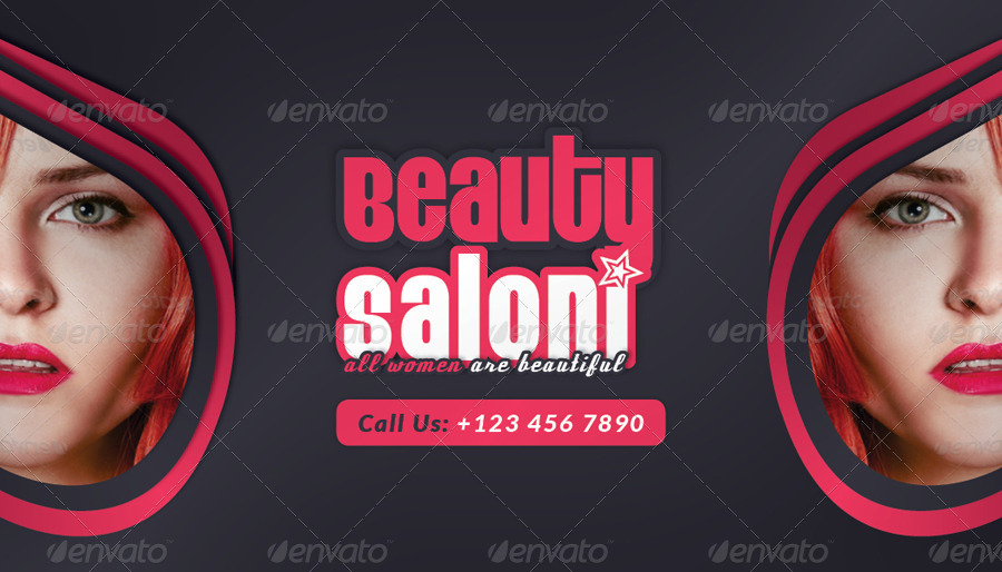 Beauty Salon Business Card Face Timeline by grafilker | GraphicRiver