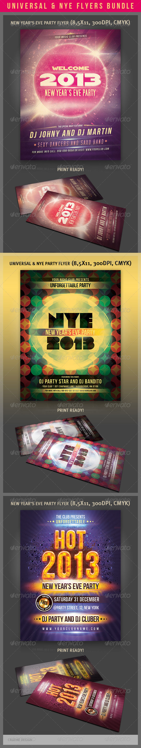 Universal & NYE Party Flyers Bundle - Clubs & Parties Events