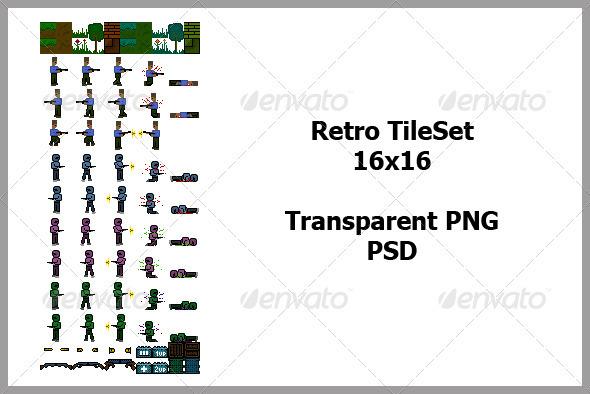 Retro TileSet - Sprites Game Assets