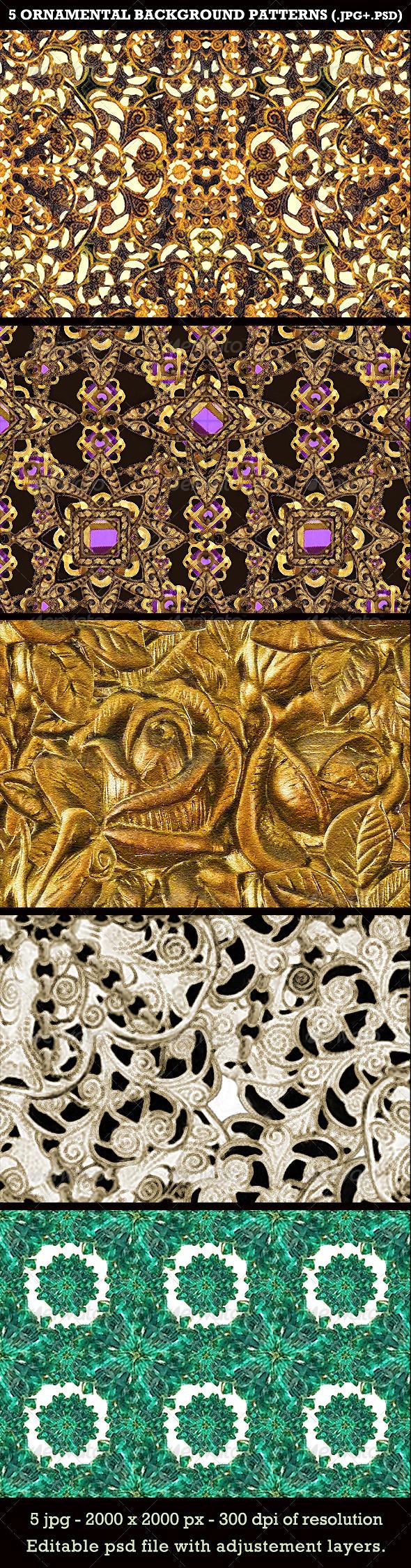 5 Ornamental Background Patterns - Patterns Backgrounds