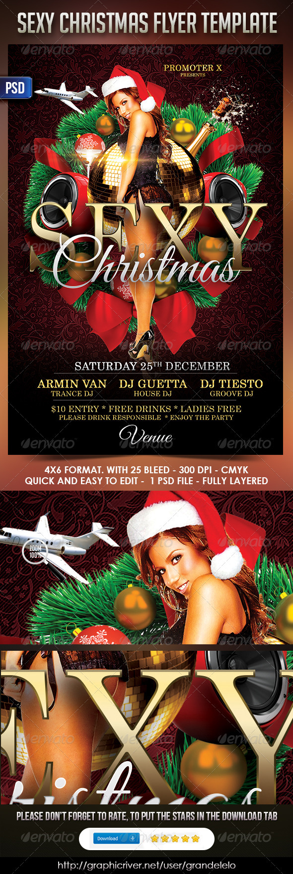 Sexy Christmas FlyerTemplate - Clubs & Parties Events