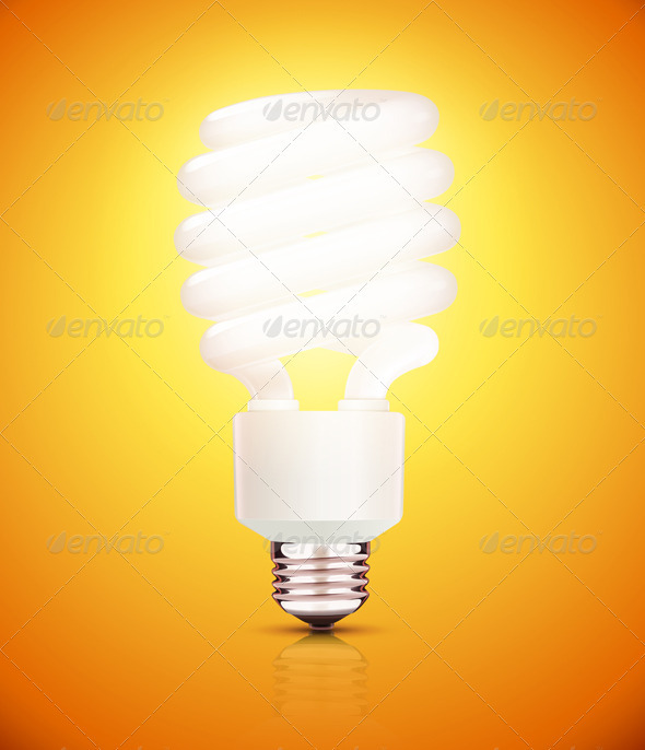 Orange Fluorescent Lightbulb - Man-made Objects Objects