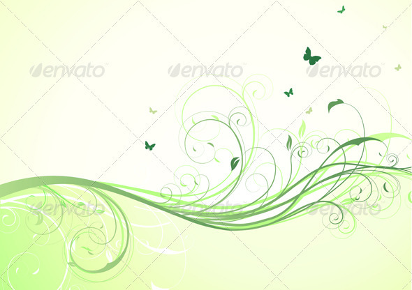 Green Floral Background  - Backgrounds Decorative
