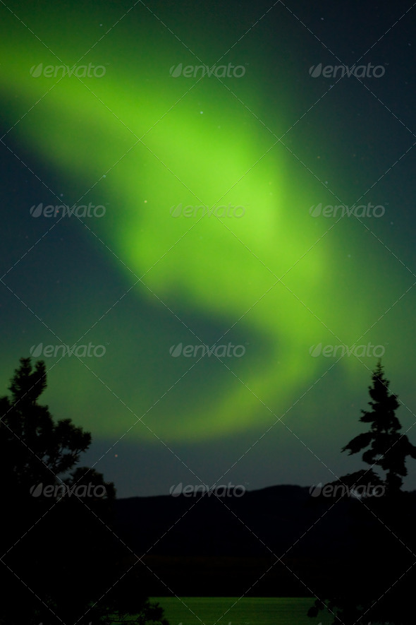 Aurora borealis (Northern lights) display - Stock Photo - Images