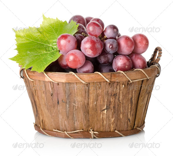 Blue grape with leaf - Stock Photo - Images