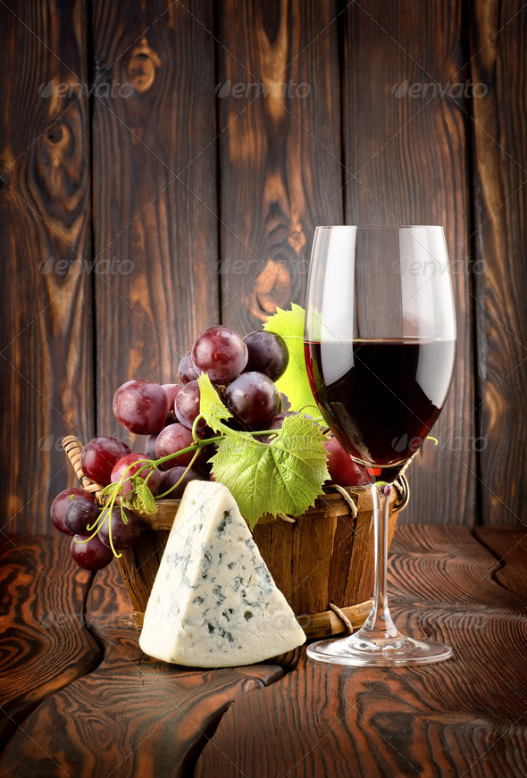 Wine and blue cheese - Stock Photo - Images