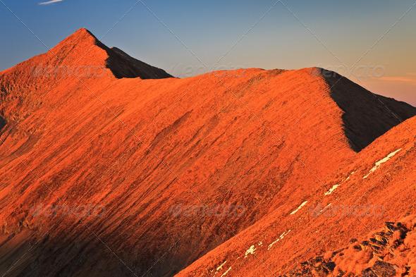 sunset in the Carpathian Mountains, Fagaras, Romania - Stock Photo - Images
