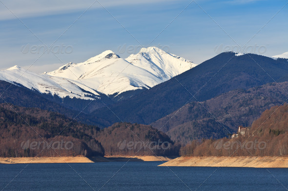 mountain lake, Fagaras Mountains, Romania - Stock Photo - Images