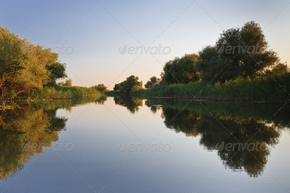 reflections on lake - Stock Photo - Images