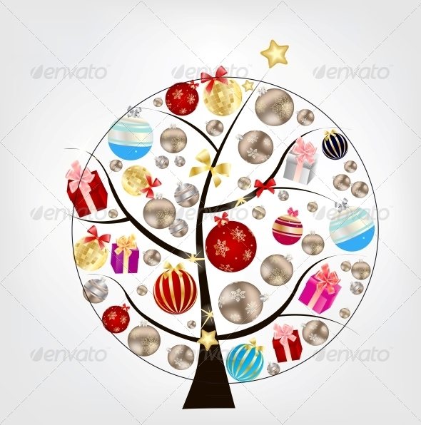 Abstract Christmas and New Year on Tree - Christmas Seasons/Holidays