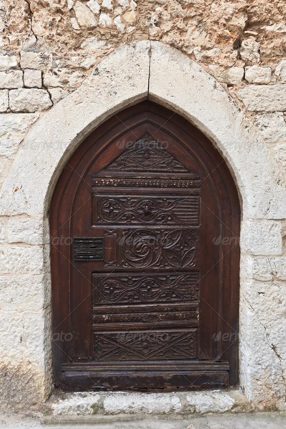 Medieval iron door  - Stock Photo - Images