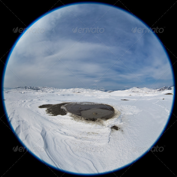 Mud Volcanoes in winter. Buzau, Romania - Stock Photo - Images