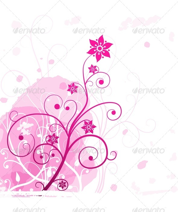 Pink Grunge Flower - Backgrounds Decorative