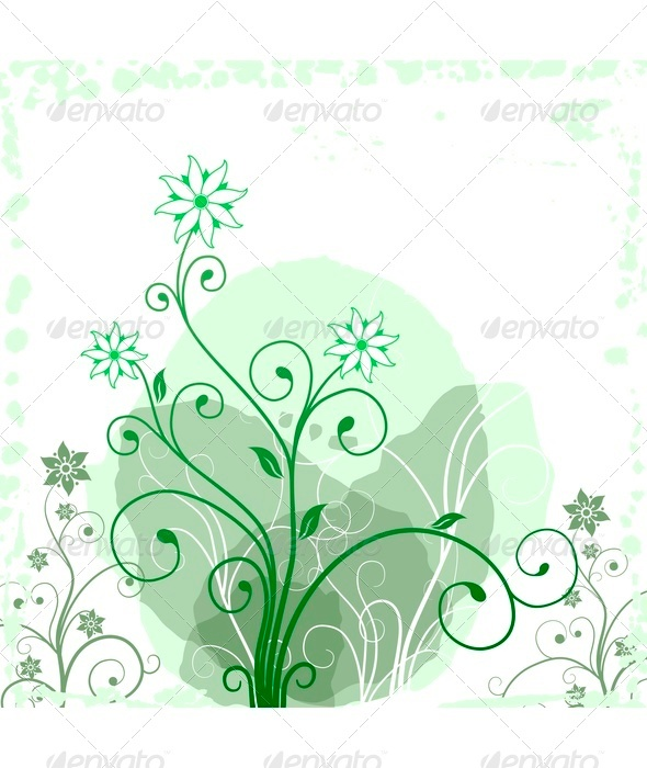 Green Grunge Flower - Backgrounds Decorative