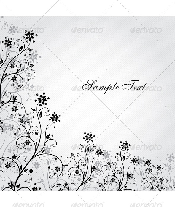 Black And White Grunge Flower - Backgrounds Decorative