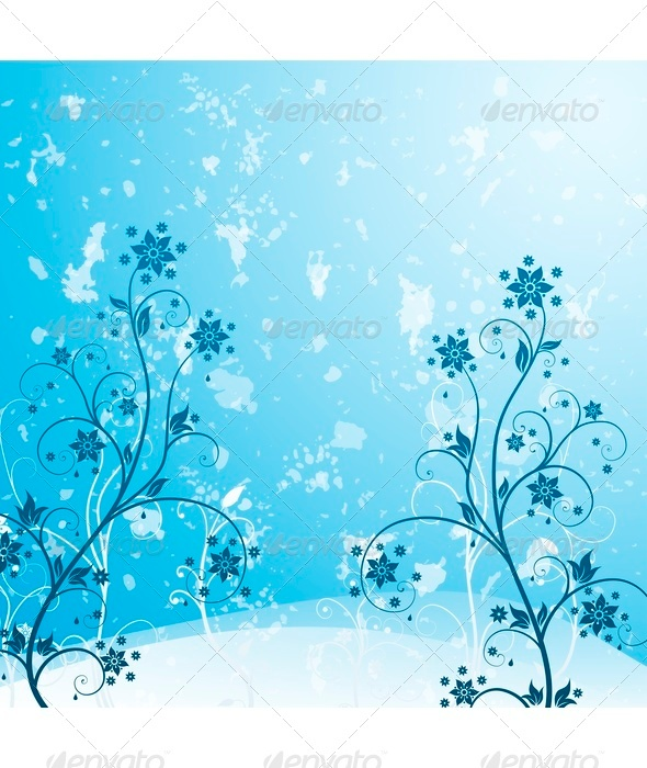 Blue Grunge Flower - Backgrounds Decorative