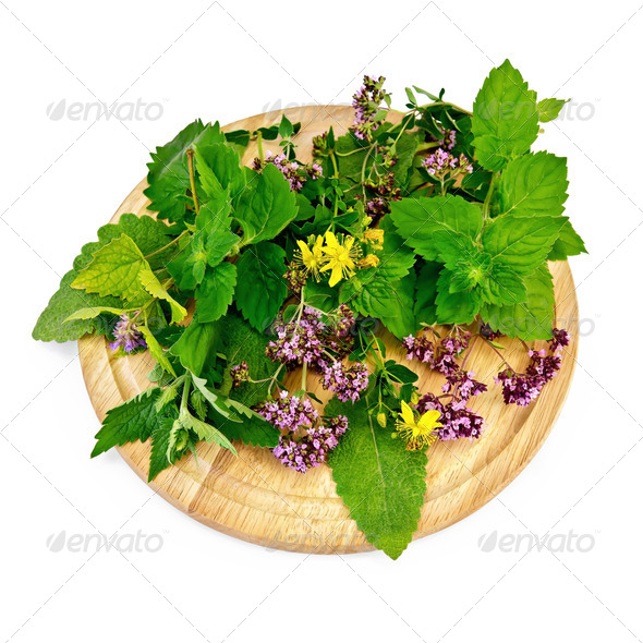 Herbs on a round board - Stock Photo - Images