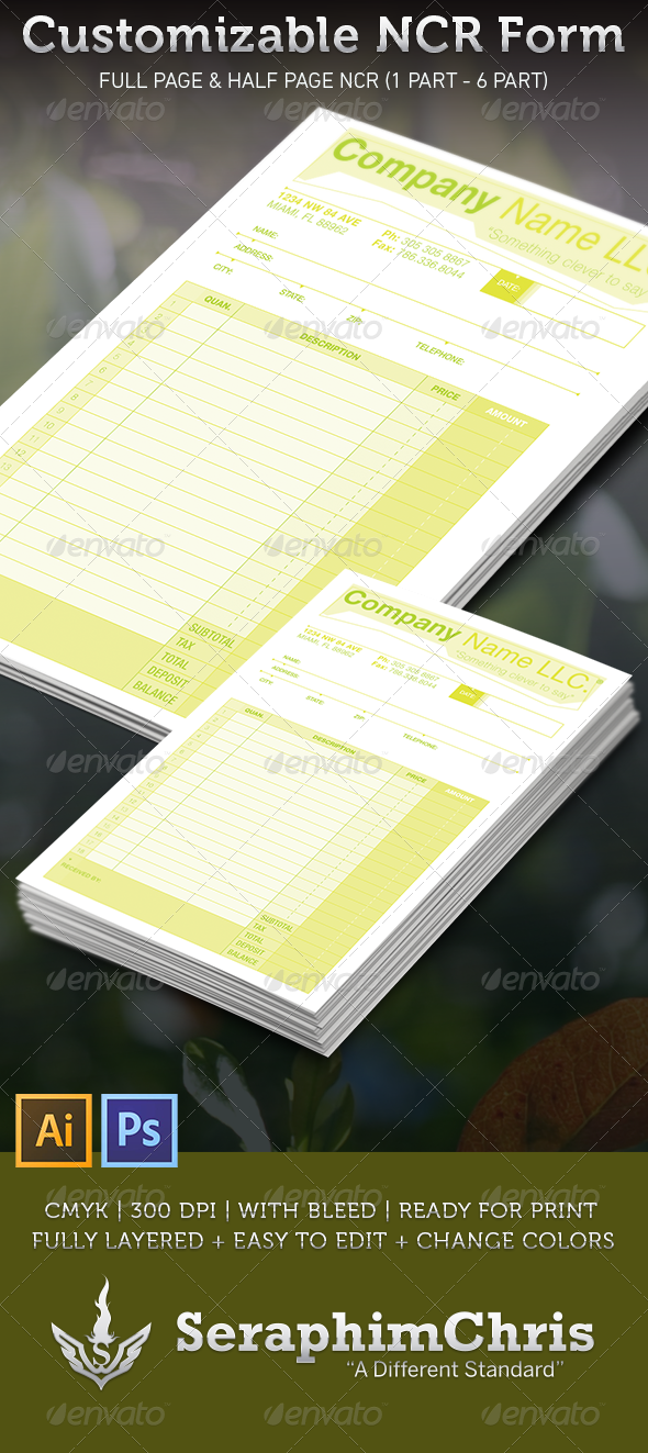 Customizable NCR Form Template - Proposals & Invoices Stationery