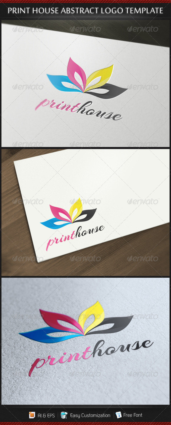 Print House Abstract Logo Template - Vector Abstract