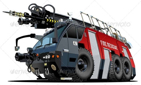 Cartoon Firetruck - Man-made Objects Objects