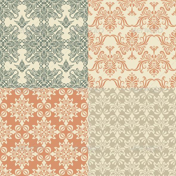 Vector Seamless Vintage Wallpaper Patterns - Patterns Decorative