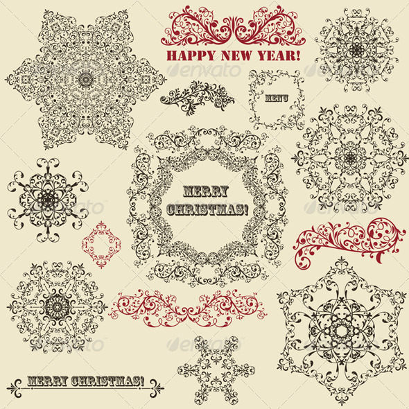 Vintage Floral Design Elements and Snowflake - Decorative Symbols Decorative