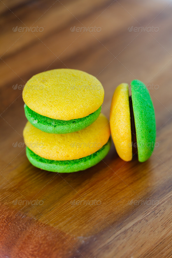 Lemon and mint marron cookies with chocolate cream - Stock Photo - Images