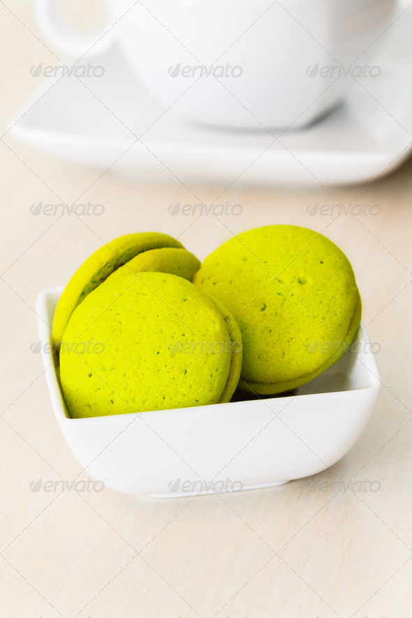 Mint marron cookies with chocolate cream - Stock Photo - Images