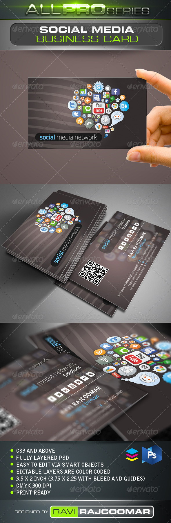 Social Media Network Business Card - Creative Business Cards