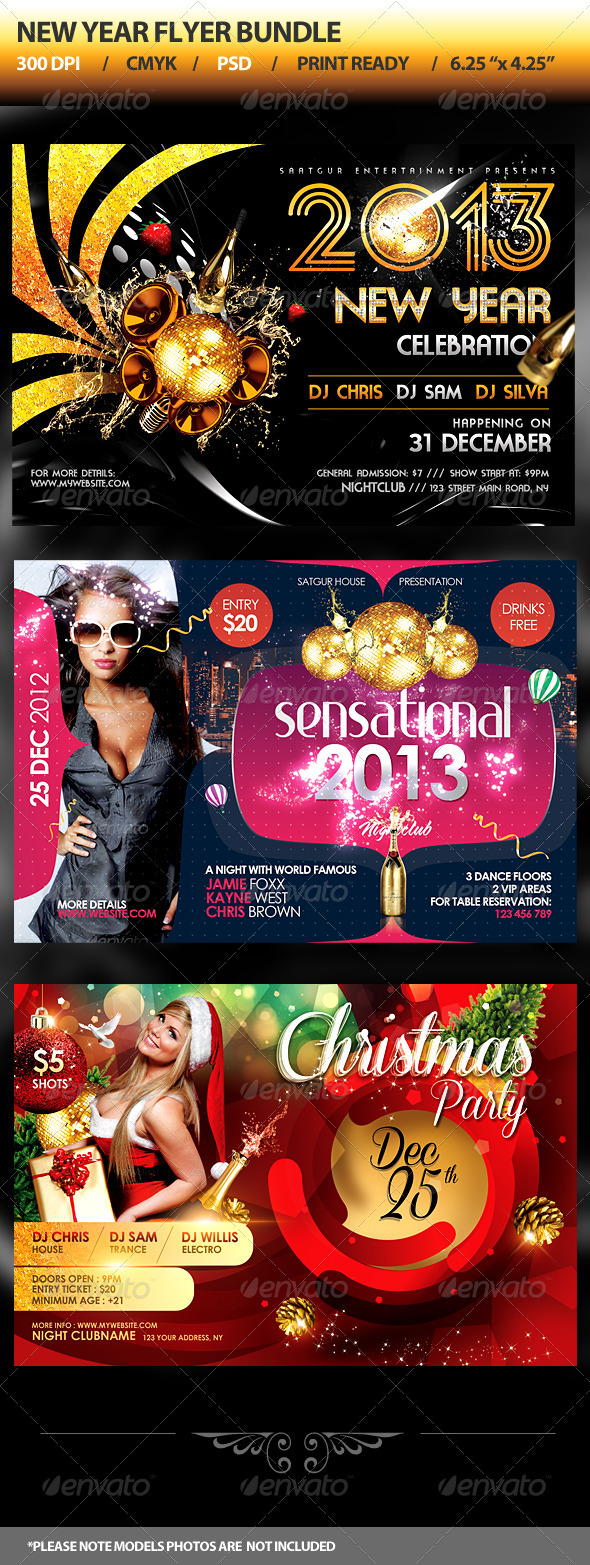 New Year Party Flyers Bundle - Clubs & Parties Events