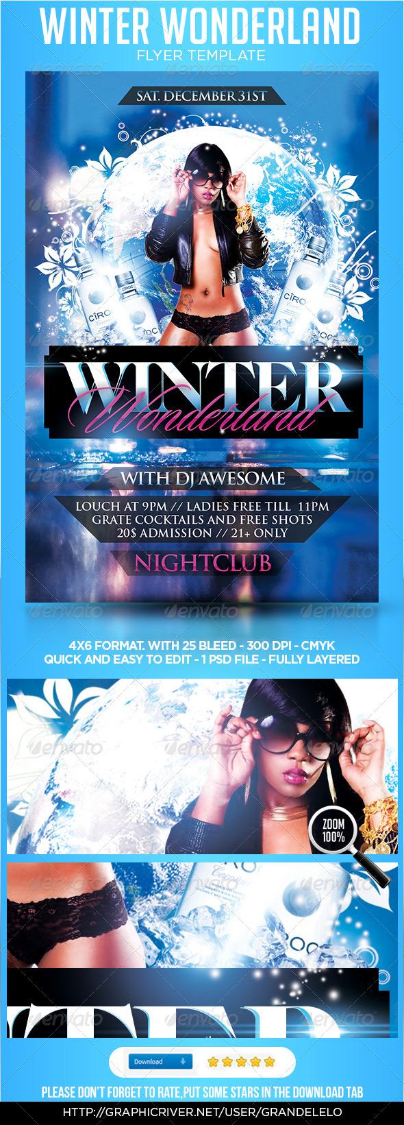 Winter Wonderland Flyer Template - Clubs & Parties Events