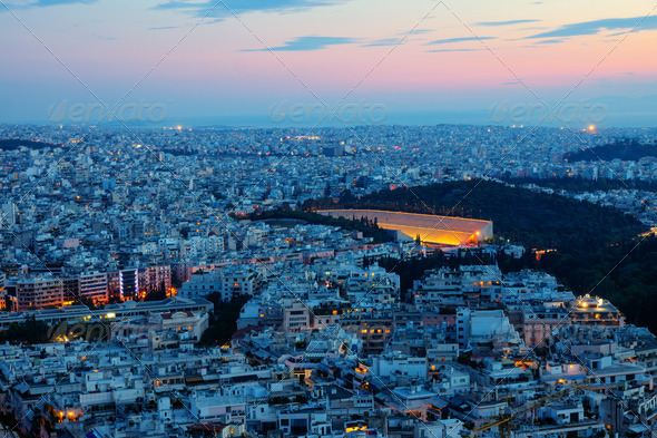 Athens with the old olympic stadium - Stock Photo - Images