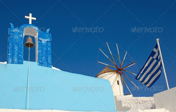 Church and windmill - Stock Photo - Images