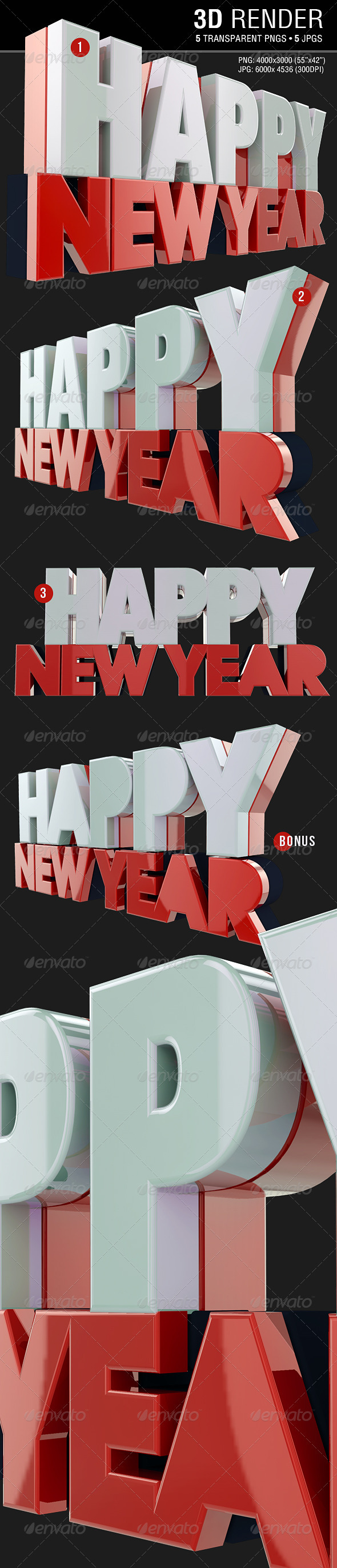 Happy New Year 3D Render - Text 3D Renders