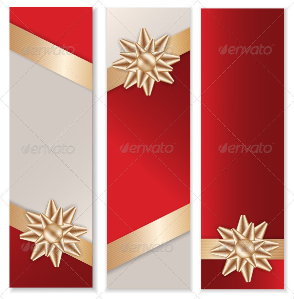 Golden Bow Banner Set - Decorative Symbols Decorative