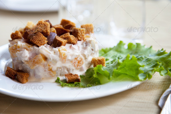Salad with toast and green leaf lettuce - Stock Photo - Images