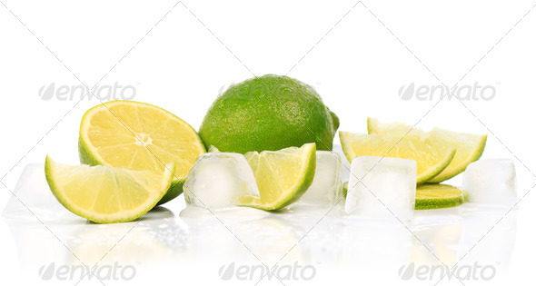 Lime with pieces of ice isolated on white background - Stock Photo - Images