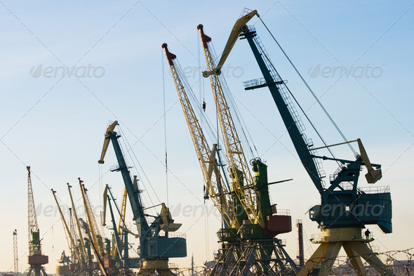 Harbour cranes - Stock Photo - Images