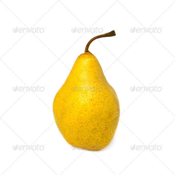 Yellow pear. Isolated on white background. - Stock Photo - Images