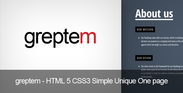 GReptem – HTML 5 CSS3 Simple One page