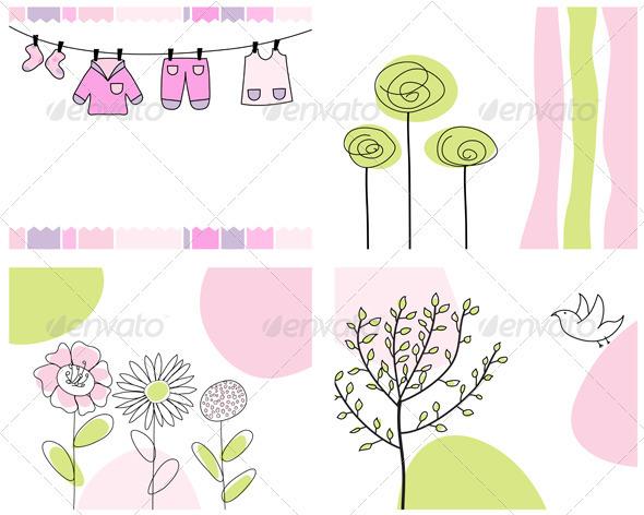 Sketched Greeting Card Set - Flourishes / Swirls Decorative