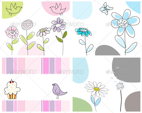 Sketched Greeting Card Set - Backgrounds Decorative