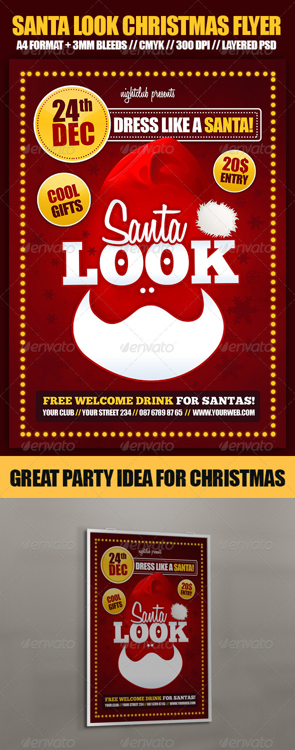 Santa Look Christmas Party Flyer - Holidays Events