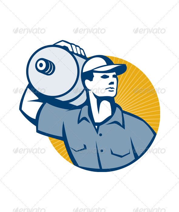 Delivery Worker Carrying Water Jug Retro  - People Characters
