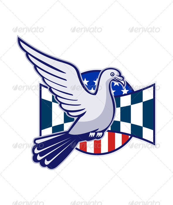 Racing Pigeon Race Flag American Stars Stripes  - Animals Characters